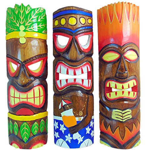 (Tiki Mask Wall Plaque Set of 3 Hand Carved Wall Decor Tropical Decoration, 20 Inches Long)