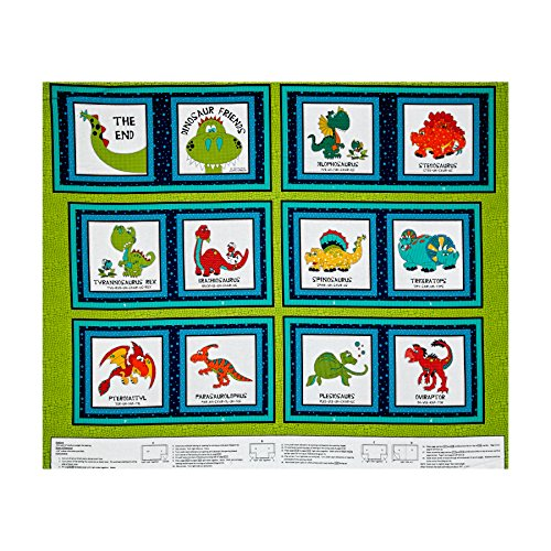 I Love You This Much Dino Book 35.5'' Panel Green Fabric By The Yard (Panel Fabric By The Yard compare prices)