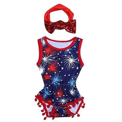 2pcs bebé niñas sin mangas estrellas estampado pelele + lentejuelas diadema (90 cm)