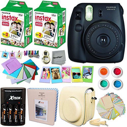 FujiFilm Instax Mini 8 Camera BLACK + Accessories KIT for Fujifilm Instax Mini 8 Camera includes: 40 Instax Film + Custom Case + 4 AA Rechargeable Batteries + Assorted Frames + Photo Album + MORE
