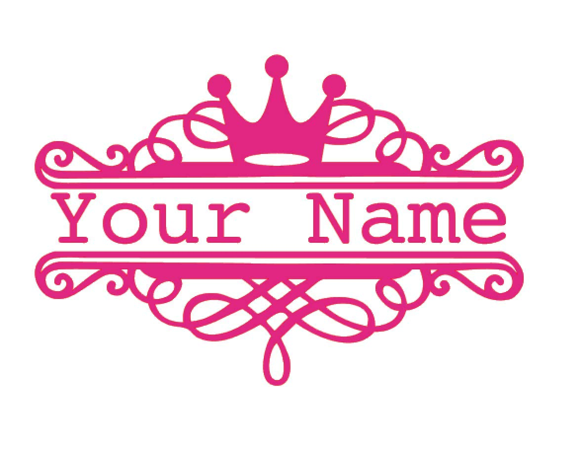 Custom Princess Crown Name Vinyl Decal - Fantasy Bumper Sticker, for Tumblers, Laptops, Car Windows