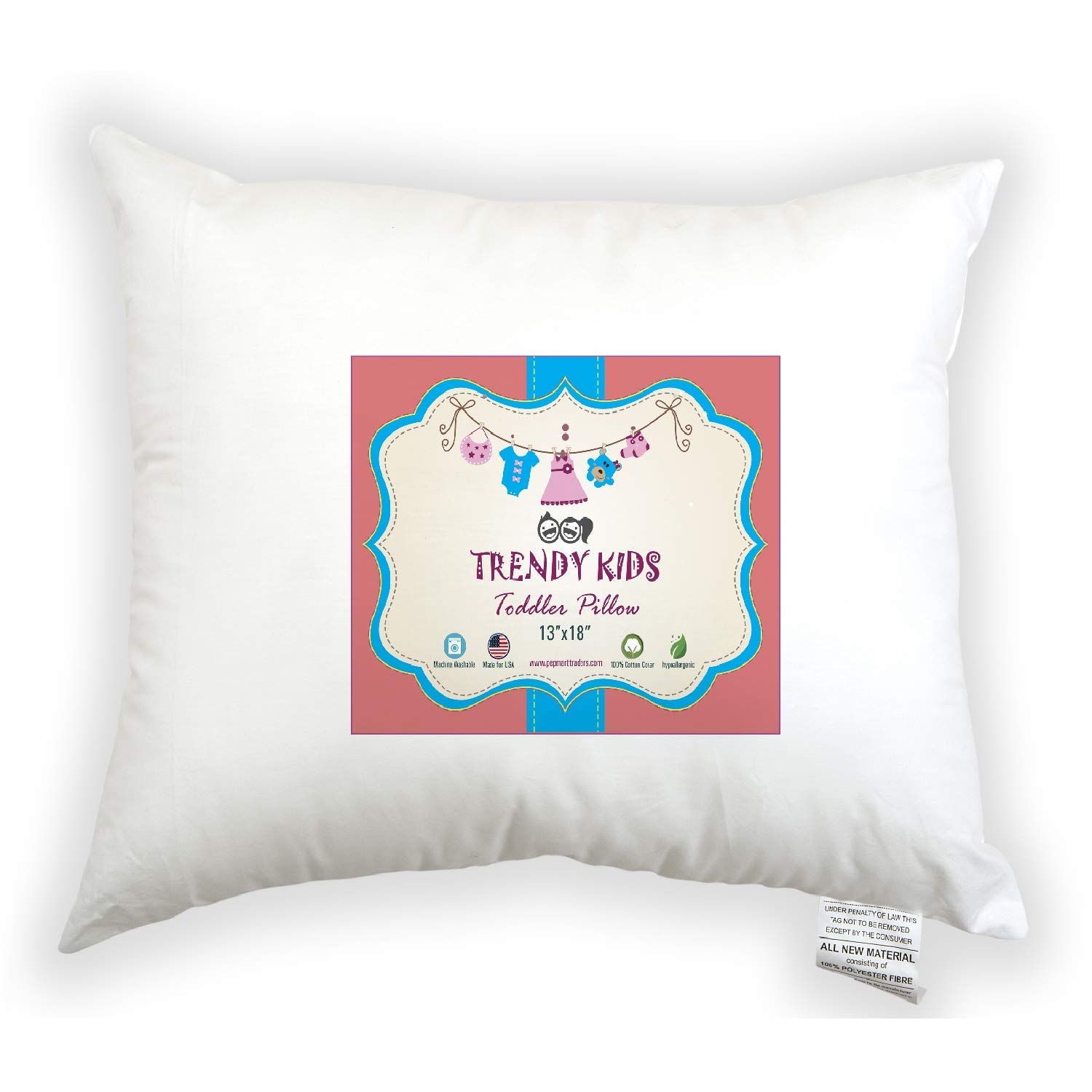 Trendy Kids Toddler Pillow 13x18 100% Cotton Baby/Toddler/Travel Pillow 300TC - No Extra Pillowcase/Sham Needed - Machine Washable and Hypoallergenic, Perfect for Kids, Infant PEPMART TRADERS