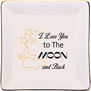 I Love You to The Moon and Back - Ring Dish Trinket Dish for Engagement, Birthday Gifts Ideal for Wife Girlfriend