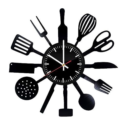 Amazon Com Kitchen Vinyl Wall Clock Kitchen Wall Art Kitchen Wall Decor Kitchen Ornament Kitchen Tools Gifts For Chefs Handmade