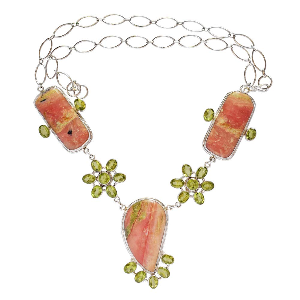 925 Solid Sterling Silver Green Peridot Gift for Mom Ravishing Impressions Very Cute Natural Pink Opal Gemstone Necklace Handmade FSJ-3363