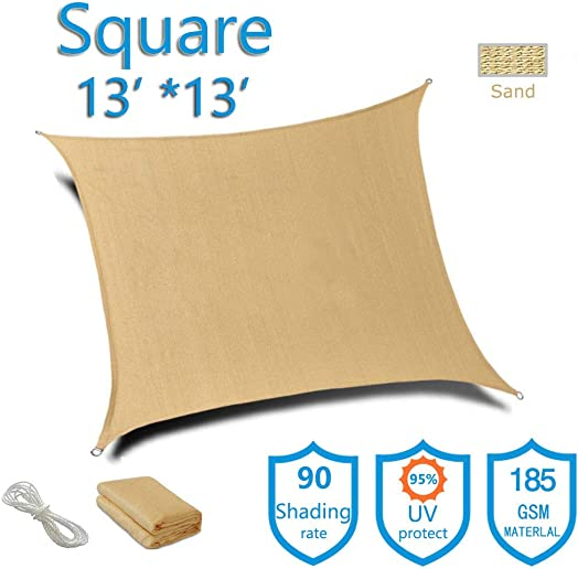 Sunnykud Square 13 x13 Sun Shade Sail Sand Canopy for Deck Permeable Pergola Shades Fabric Durable UV Block 185 GSM Perfect for Outdoor Garden Patio Yard Deck Pergola