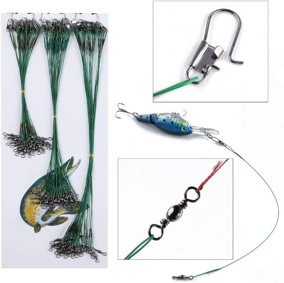 CviAn 72pcs Fishing Leaders Rigs Nylon-Coated Fishing Line Wire Leaders Spin Swivel Connector Lure Tracer Accessory