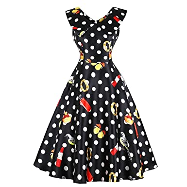114e94b4a9008 Blazar Women s Plus Size Vintage Party Dresses 1950s Rockabilly Audrey  Dress Retro Polka Dot Cocktail Dress