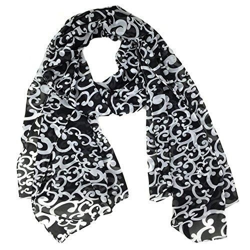 Black Scarf White (Fashionable White Ivy Print Soft Chiffon Scarf - Black)