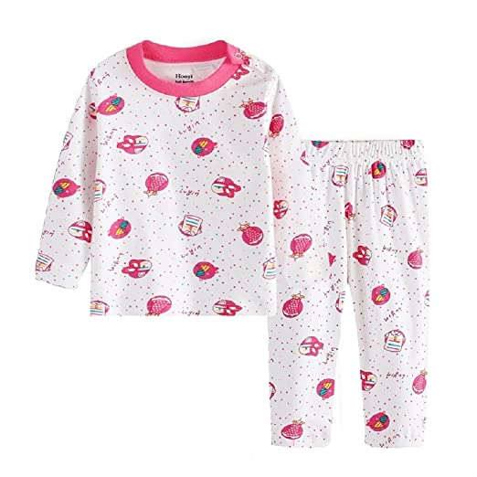 Hooyi Baby Girl Cotton Red Dot Pijamas Suit (3-6month)