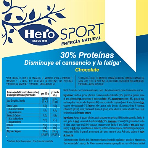 HERO barrita de cereales sport chocolate 35 gr: Amazon.es: Alimentación y bebidas
