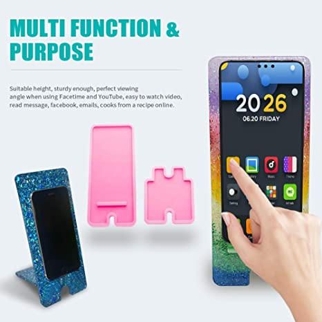 Cell Phone Stand Resin Silicone Mold Set White Mobile Phone Holder Epoxy Resin Casting Moulds for DIY Craft Supplies Cell Phone Bracket Nightstand Table Office Kitchen Home Decoration