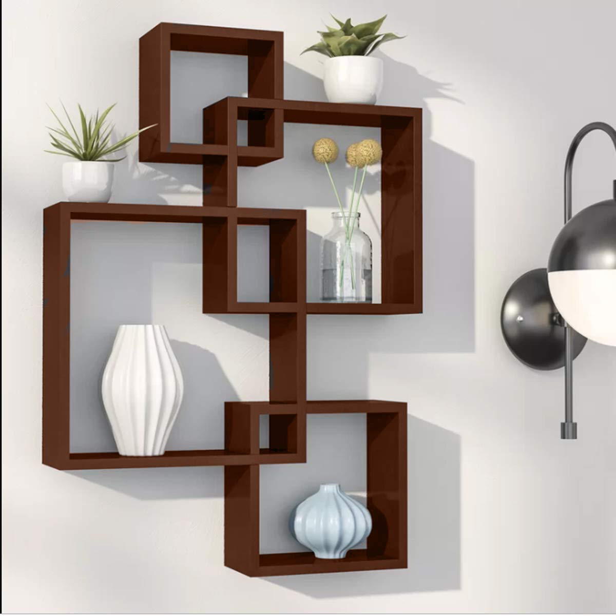 Dime Store Intersecting Wall Mount Wall Shelf Four Wall Shelves For Living Room Standard Elegant Brown Buy Online In Guernsey At Guernsey Desertcart Com Productid 183171866