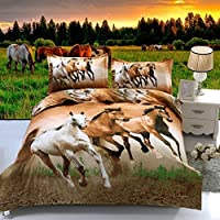 Suncloris,4pcs Queen Size Duvet Cover Set,3d Galloping Horse Bedding Set Comforters Duvet Cover Quilt Bed Linen Sheet Bedspread …