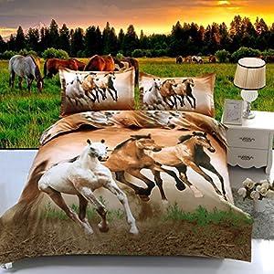 Suncloris,4pcs Queen Size Duvet Cover Set,3d Galloping Horse Bedding Set Comforters Duvet Cover Quilt Bed Linen Sheet Bedspread …