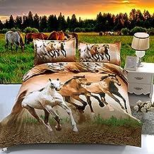 Suncloris,4pcs Queen Size Duvet Cover Set,3d Galloping Horse Bedding Set Comforters Duvet Cover Quilt Bed Linen Sheet Bedspread by Suncloris