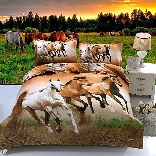 Great Suncloris,4pcs Queen Size Duvet Cover Set,3d Galloping Horse Bedding Set  Comforters Duvet Cover Quilt Bed Linen Sheet Bedspread ... (Galloping Horse)