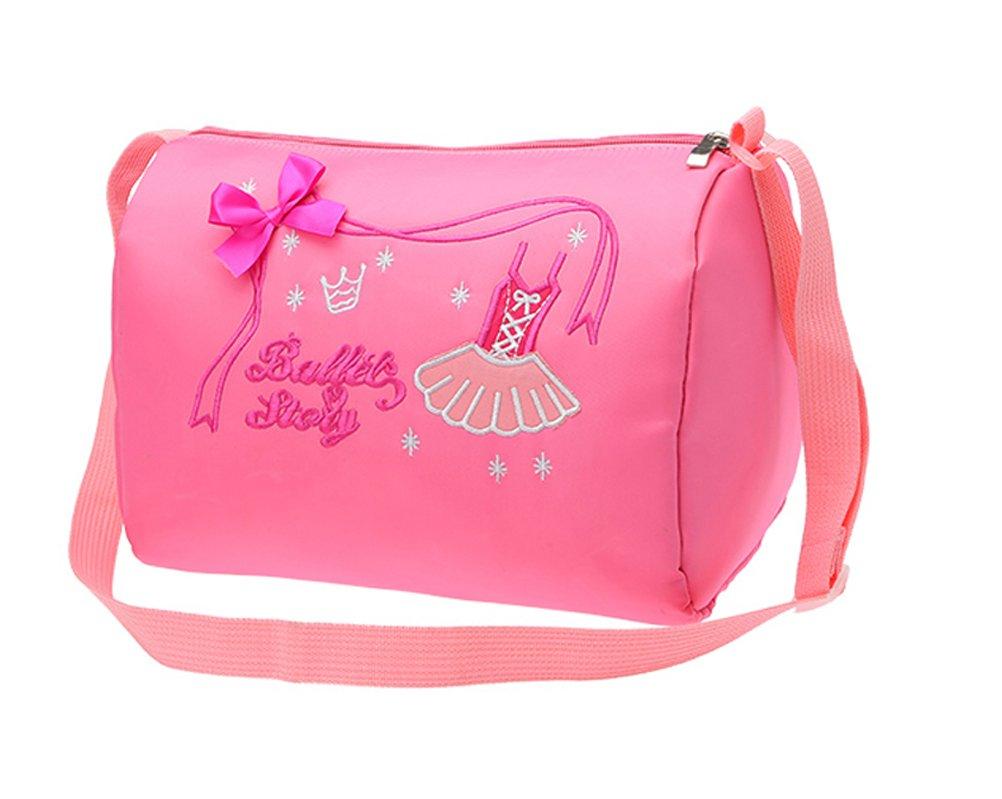 SHOLIND Girls Flower Shape Ballet Jazz Dance Shoes Bag Baby Kids Travel Backpack (Pink)