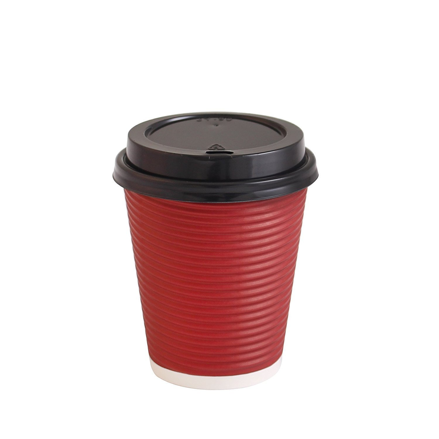 PARTY BARGAINS Best Disposable Coffee Togo Cups with Lids | Premium Hot Paper Cup Rippled Insulation for Heat Protection Perfect for Hot Chocolate, Tea, Espresso Or Any Beverage - 12 oz | Pack of 50