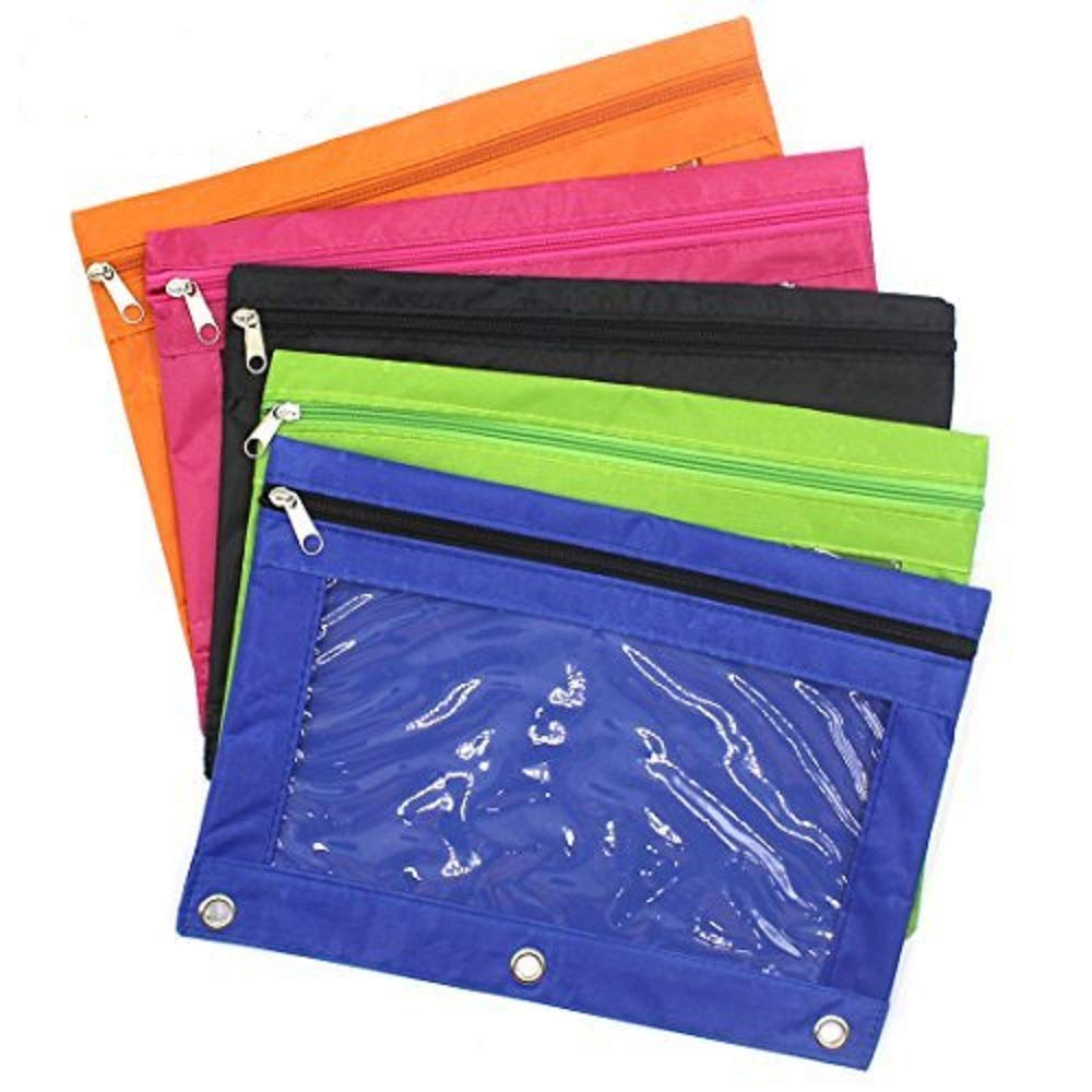 Binder Pencil Pouches,Aimeio 3 Ring Zippered Pencil Case wth Clear Window for Office School Supplies,Pack of 5,Assorted Colors