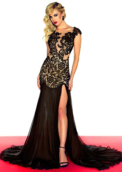 Pinkmerry Lace Backless Long Formal Evening Prom Split Party Dresses Black 8