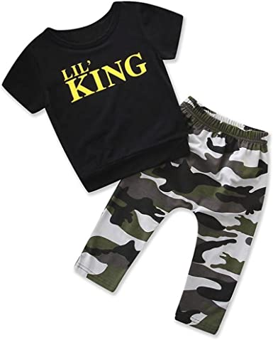 Toddler Kids Baby Boys Outfits Star Sleeveless Vest Tops+Camouflage Pants Pollyhb Bady Boy Clothes Set 6 Months - 4 Years