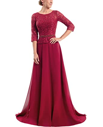 QiJunGe Modest 3/4 Lace Sleeves Long Evening Gowns With Beaded Waist Prom Gowns Dark