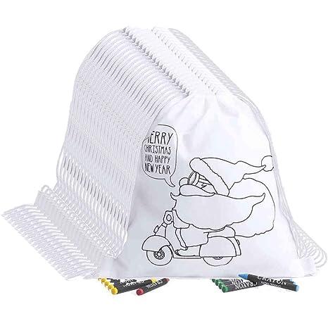 Partituki 20 Mochilas Infantiles para Colorear con Dibujos de Papa Noel. Cada Una Incluye 4