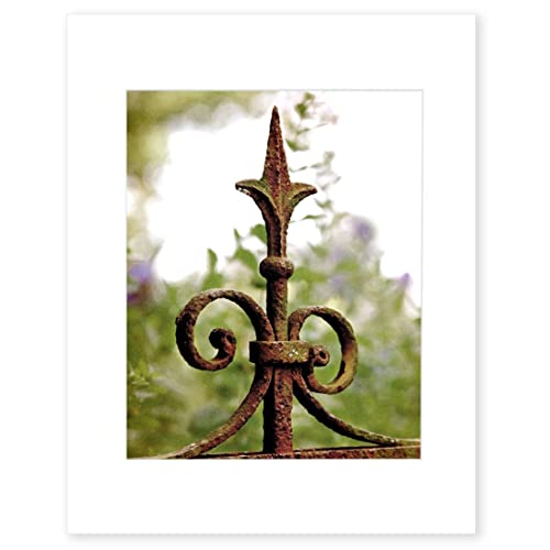 English Garden Wall Art, Rustic Wrought Iron Gate Post Picture, 8x10 Matted  Print,