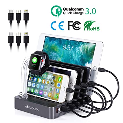 Charging Station with QC 3.0 Quick Charge, VICOODA Smart Charging Station Dock & Organizer for iPhone, iPad, Apple Watch, iPod, Smart Phones 6 Port ...