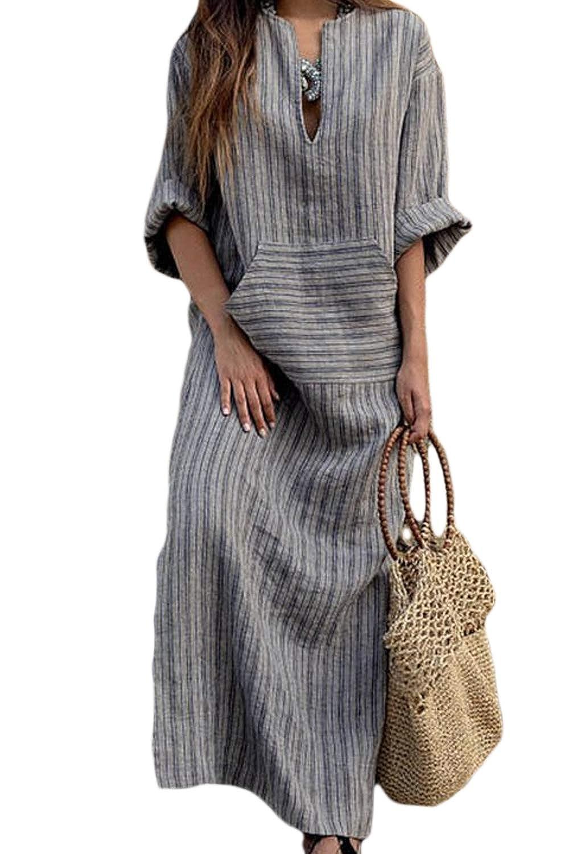 Zojuyozio Womens Summer Linen Cotton Maxi Dress Casual Stripes V Neck Dresses