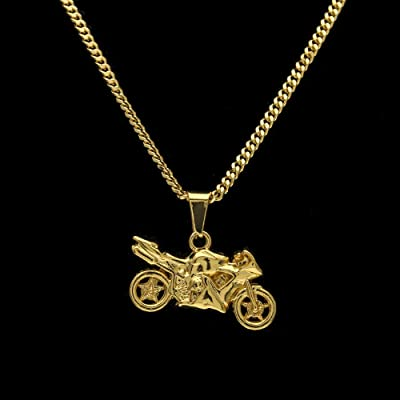 RENYZ.ZKHN Cool Motorcycle Motorcycle Small Pendant Motorcycle Simple Male Decoration, Hip Hop Motorcycle Necklace