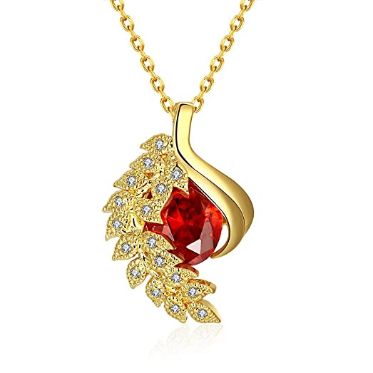Amazon sdlm slim chain gorgeous ruby unique phoenix charm gold sdlm slim chain gorgeous ruby unique phoenix charm gold plated pendant necklacey aloadofball Images