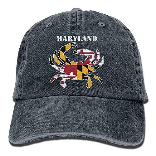 Men Women Maryland Flag Crab Yarn-Dyed Denim Baseball Hat Adjustable Hip-hop Cap ()