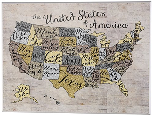 The Kids Room by Stupell United States Map Typography Art Wall Plaque, 11 x 0.5 x 15, Proudly Made in USA