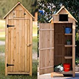 OlymStore Fir Wood Outdoor Peaked Roof Wooden Storage Shed with Floor,Single Door Garden Cabinet w/Shelf,Backyard Tool House Utility Building