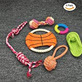 Getyic Pets Puppy Dog Rope Toy, TPR Flying Disc,Teething Puppy Chewer for Medium Large Breeds' Dental Health, Gift of 6 Pcs