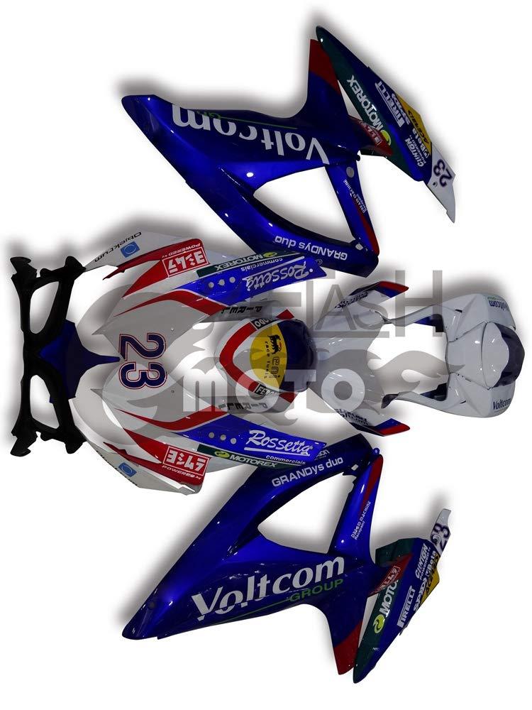 FlashMoto suzuki 鈴木 スズキ GSX-R600 GSX-R750 K8 2008 2009 2010用フェアリング 塗装済 オートバイ用射出成型ABS樹脂ボディワークのフェアリングキットセット (ブルー,ホワイト)   B07MNGBDR9