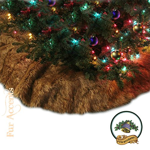 Classic Log Cabin Lodge Country Christmas Tree Skirt Light Brown Wolf Coyote Premium Quality Faux Fur Round (5' Diameter) by Fur Accents