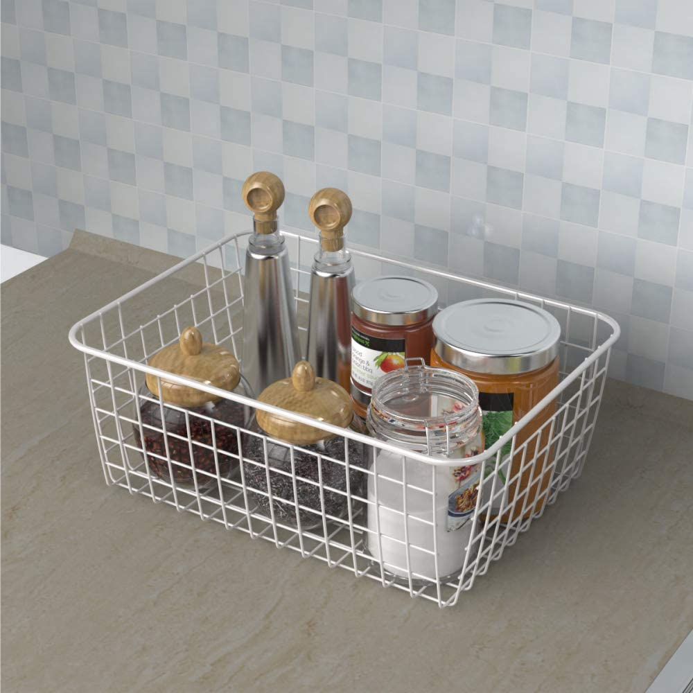 2 Pack iSPECLE Metal Wire Baskets Storage Baskets for Organizing with Handles for Kitchen Cabinets Pantry Bathroom Laundry Room Closet Garage Wire Baskets for Storage