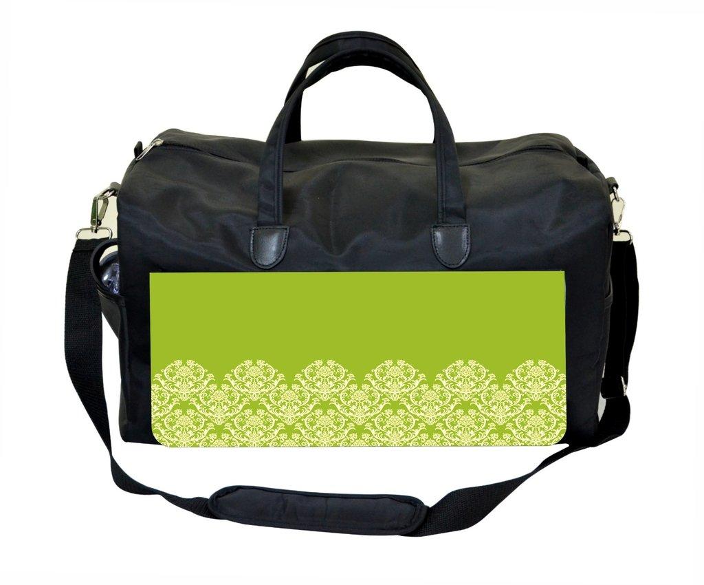 Lime Half Damask Design Weekender//Overnighter Bag