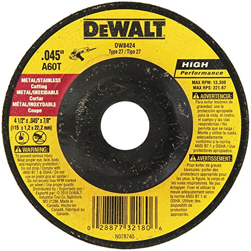 DEWALT DW8424 Thin Cutting Wheel, 4-1/2-Inch x.045-Inch x 7/8-Inch
