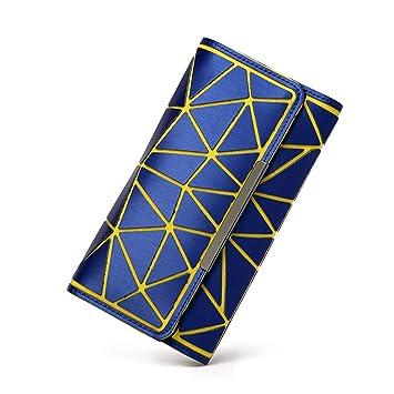 kaoling Geometría Mujer Carteras Monedero Luminoso Señoras Embrague Bolso del Teléfono Mujer Titulares de la Tarjeta Feminina Monederos con Logo Blue: ...