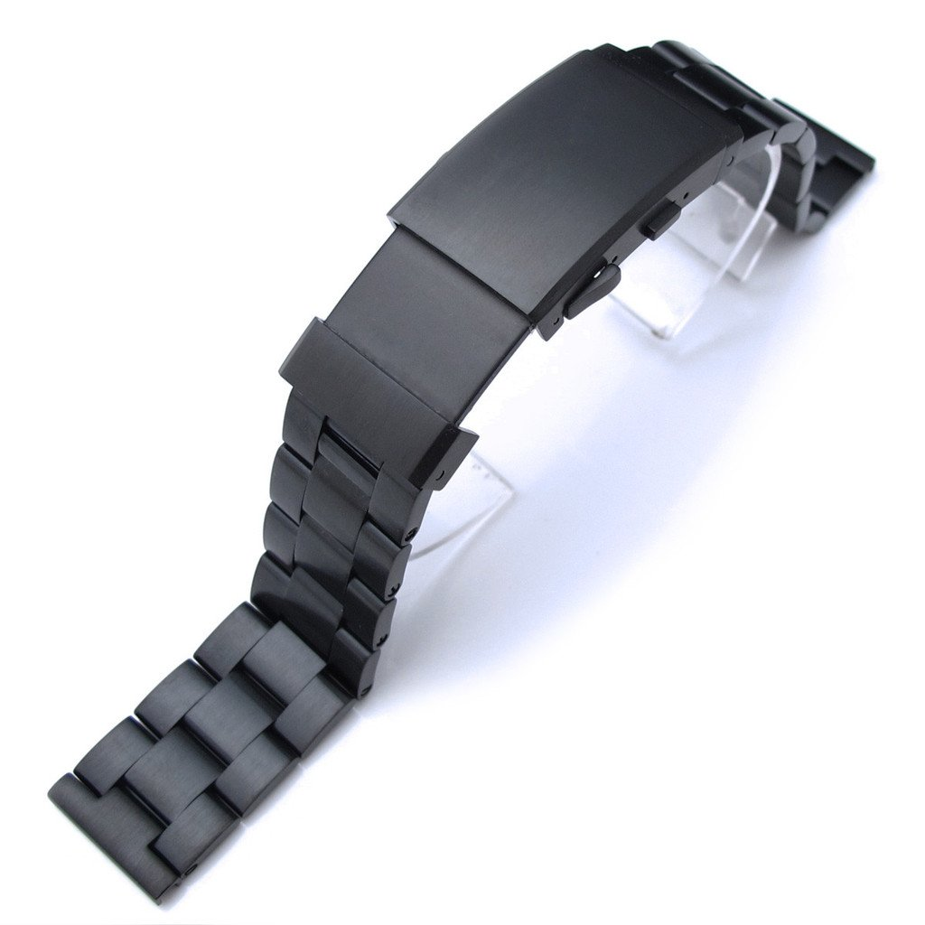 21mm Super Oyster Solid SS Straight End Watch Band, PVD Black, Wetsuit Ratchet Buckle