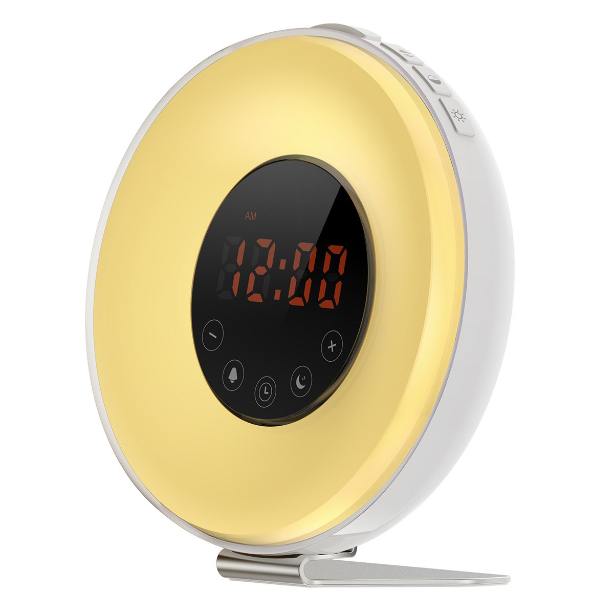 Criacr Wake-Up Light, (2 Sound, FM Radio, Snooze Function) Sunrise Sunset Simulation Alarm Clock, Multi Light Modes, Touch Control Night Light, Easy to Set Up for Bedroom, Playroom, (Yellow)
