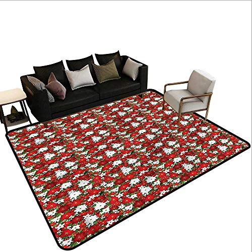 "Christmas,Print Floor Mats Bedroom Carpet 80""x 120"" Holly Mistletoe Large Classical Carpet"