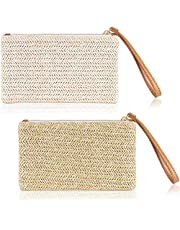 2 Pieces Straw Clutch Bag Zipper Straw Wallet Bohemian Summer Beach Straw Wristlet Handbag for Women Girls