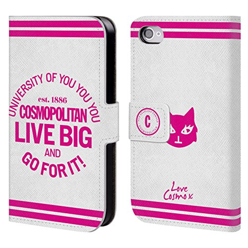 Official Cosmopolitan Live Big Pink University Leather Book Wallet Case Cover For Apple iPhone 4 / 4S