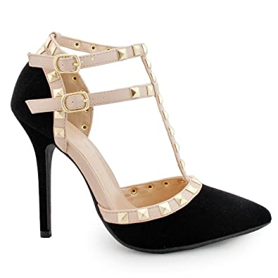 87ee7a2d2d86b Wild Diva Women Studded Ankle Straps Stiletto High Heel Pumps Two Straps
