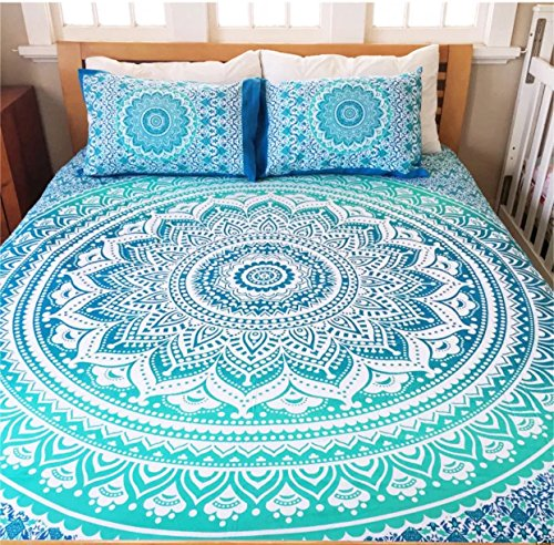 LS Hippie tapestries with Two Pillow Covers Mandala Tapestry Collage dorm Beach Throw Wall Art Bohemian tapestryWall Hanging Boho tapestries Bedspread (Full (215cmsx230cms), Blue & - International Urban Outfitters Shipping